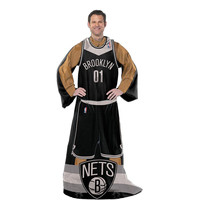 Brooklyn Nets NBA Adult Uniform Comfy Throw Blanket w- Sleeves