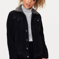Black Faux Fur Collar Cord Jacket
