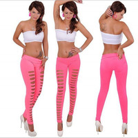Brand new Women's Sexy Ripped Leggings Torn Slashed Slit Cut Shredded Mesh Destroyed Leggins Skinny Pants Irregular leggings