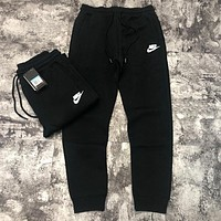 NIKE Trending Men Women Casual Print Sport Stretch Pants Trousers Sweatpants Black