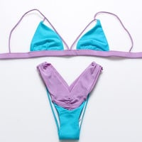 Sexy fashion blue edge purple show body two piece bikini