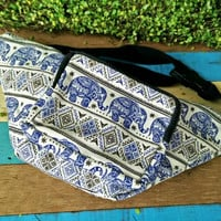 Fanny pack elephants print festival tribal Boho bum bag Ethnic Styles belt belly Pouch Travel phanny waist bags Ikat Hippies Bohemian blue