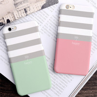 South Korean simple Style Pink gray White striped  Painted Phone Cases For iphone 7 7 Plus matte hard couple for iphone case