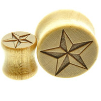"""Wooden Ear Plugs Nautical Star Design Sold As a Pair -00 Gauge -1/2"""" - 9/16"""" - 5/8"""" - 11/16"""""""