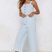 The Stripe Kind of Wrong Cropped Jumpsuit