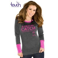 Touch by Alyssa Milano New Orleans Saints Ladies Breast Cancer Awareness Quick Pass Long Sleeve Thermal T-Shirt - Black