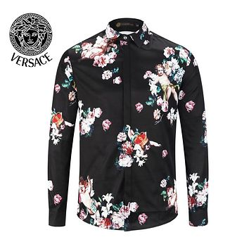 VERSACE Fashion Men Women Casual Flower Print Long Sleeve Lapel Shirt Top