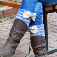 Vanilla Blue Short Knit Boot Cuffs with bow. Short Leg Warmers. Crochet Boot Cuffs. Bow boot cuffs. Bow Accessory