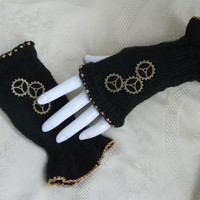 Steampunk mittens fingerless gloves black and brass hand knitted with brass cogs gears womens clothing larp costume accessories winter warm