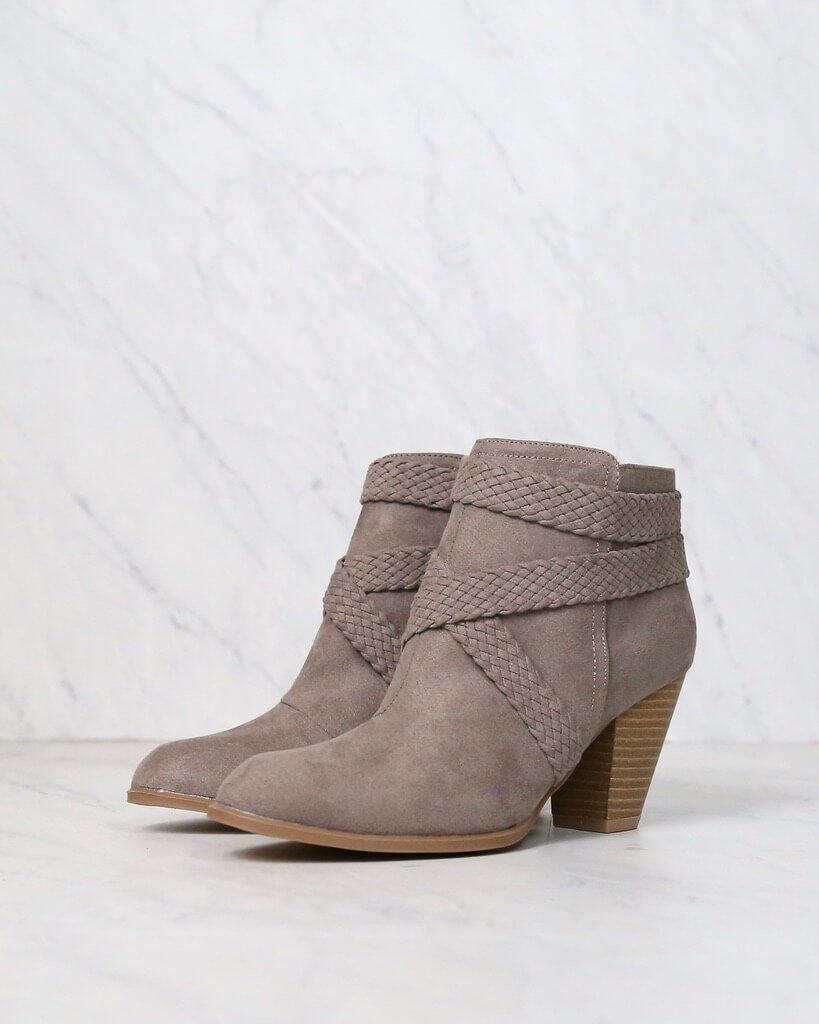 Image of Final Sale - A Rare Braid Suede Booties in Taupe