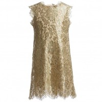 Girls Gold Metallic Lace Dress