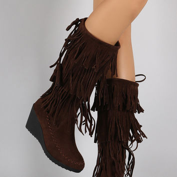 Suede Layered Fringe Drawstring Moccasin Wedge Boots
