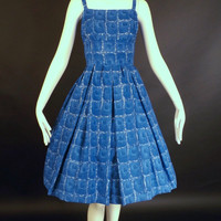 1950s Blue & White Rayon Print Sun Dress, Bust-34