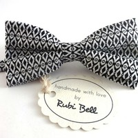 Bow Tie - white bow tie with black geometric pattern - man bow tie - men bow tie - gifts for him