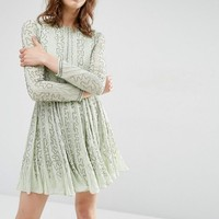 ASOS | ASOS Beautiful Bugle Beaded Long Sleeve Skater Dress at ASOS