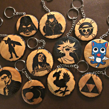 Custom Wood burned Pendant Necklace or Keychain Personalized Jewelry Fandom Geeky Unisex Accessories Women or Mens necklace Mens jewelry