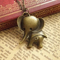 antique bronze lovely elephant necklace jewelry