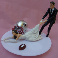 Wedding Cake Topper New England Patriots G Football Themed w/ Garter, Display Box