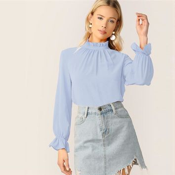 Blue Frilled Neck Bell Cuff Top Women Solid Stand Collar Long Sleeve Elegant Office Lady Tops and Blouses