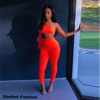 Women Sexy Orange Two Piece One Shoulder Crop Top Pant Set