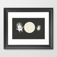 Astro Bunnies Framed Art Print by Lalaine Lim