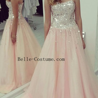 Prom Dress, A-Line Prom Dress, Strapless Prom Dress, Evening Gowns