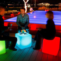 Garden Seat LED Light Color Changing Outdoor Mood Cube Furniture Stool