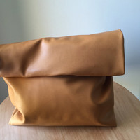 Leather Lunch Bag Leather Clutch. Stylish purse which can be customised. Perfect for bridesmaid gift. Lined folding clutch lunch bag style