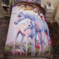 3pcs/lot Comforter Bedding Sets Forest Unicorn Print Bed Cover Queen King Twin Size Duvet Cover Single Bed Sheets Home Textiles