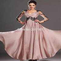 High Quality Hot Sale 2016 Vintage Prom Dresses Sexy Sheer V-neck Chiffon Long Sleeves Evening Gown With Applique Beading