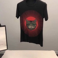 NEW 100% Authentic gucci 2018ss cat print t shirt  07