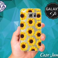 Yellow Sunflower Hippie Flower Pattern Wanelo Inspired Cute Case for Clear Rubber Samsung Galaxy S6 and Samsung Galaxy S6 Edge Clear Cover