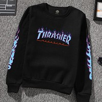Thrasher flame sweater men and women cotton sweater crew neck Sweater pullovers Black + blue flame letters