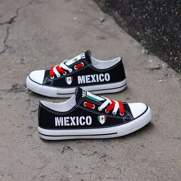 Mexico Flag Pride Low Top Canvas Shoes Custom Printed Sneakers