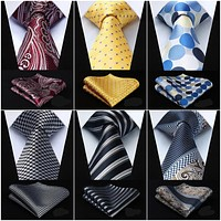 Mens Extra Long Tie Necktie Handkerchief Set