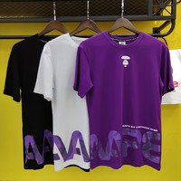 hcxx 2208 AAPE Purple camouflage T-shirt with round collar and short sleeves