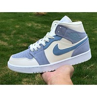 "Air Jordan 1 Mid SE ""Light Blue/Grey"" sneakers basketball shoes"