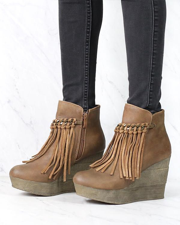 Image of Sbicca Vintage Collection - Zepp Wedge Fringe Ankle Bootie in More Colors