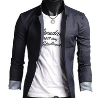 Amoin Men's Slim Fit Stylish Casual One Button Suit Coat Jacket Blazers