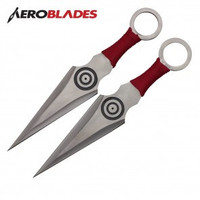 "7.5"" Set of 2 Red Wrapped Kunai Knives"