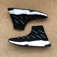 New Men Size 9.5 All Over Logo Balenciaga Speed Trainers Sock Sneakers