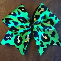 Cheer Bow - Green Cheetah