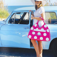 Large Beach Bag  Duffle Tote in Dots