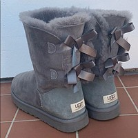 UGG hot-selling fashion ladies high-top bow snow boots fashion simple hand-sewn non-slip high-top boots