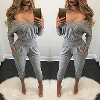 solid jumpsuits summer autumn elegant women overalls sexy off the shoulder long sleeve loose rompers womens jumpsuit tracksuit
