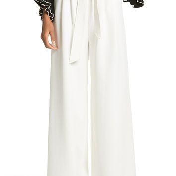 Milly Italian Cady Trapunto Tie Waist Trousers | Nordstrom