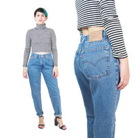 Vintage Levis 512 Jeans Womens Boyfriend Jeans Slim Fit Tapered Leg Jeans High Waisted Jeans Levi Strauss Minimal Grunge Mom Jeans (S/M)
