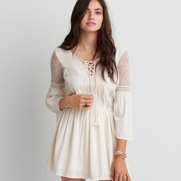 AEO LACE-UP PEASANT DRESS
