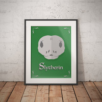 Slytherin Poster - Slytherin Print - Harry Potter Poster - Harry Potter Wall Art - Hogwarts House Decor - Harry Potter Gift - Book Decor
