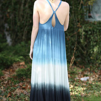 Tie Dye Strappy Beach Maxi Dress 9783